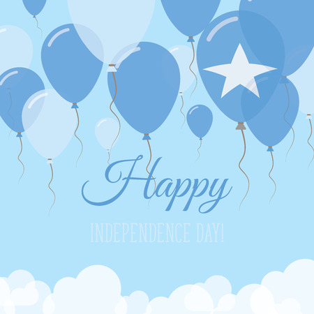 Somalia Independence Day Flat Greeting Card. Flying Rubber Balloons in Colors of the Somali Flag. Happy National Day Vector Illustration.