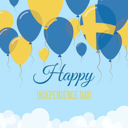 Sweden Independence Day Flat Greeting Card. Flying Rubber Balloons in Colors of the Swedish Flag. Happy National Day Vector Illustration. Illustration