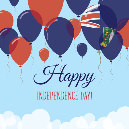 Virgin Islands, British Independence Day Flat Greeting Card. Flying Rubber Balloons in Colors of the Virgin Islander Flag. Happy National Day Vector Illustration.