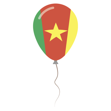 Republic of Cameroon national colors isolated balloon on white background. Independence day patriotic poster. Flat style National day vector illustration.