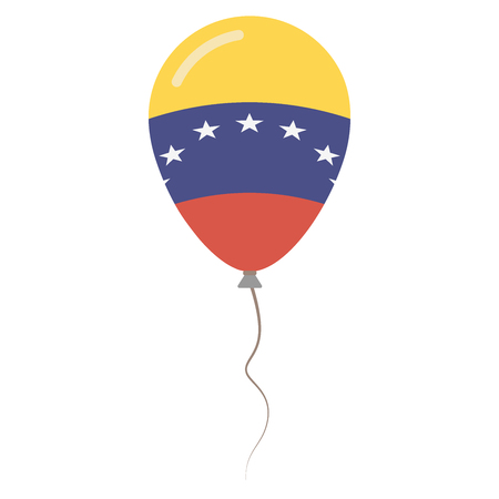Bolivarian Republic of Venezuela national colors isolated balloon on white background. Independence day patriotic poster. Flat style National day vector illustration.