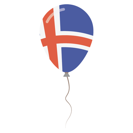 Republic of Iceland national colors isolated balloon on white background. Independence day patriotic poster. Flat style National day vector illustration. Illustration