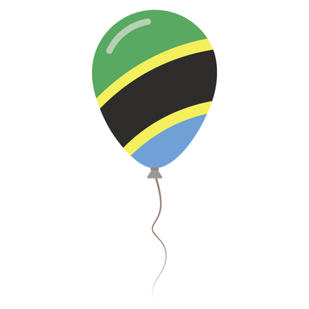 United Republic of Tanzania national colors isolated balloon on white background. Independence day patriotic poster. Flat style National day vector illustration.