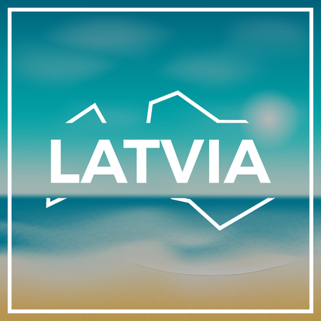 Latvia map rough outline against the backdrop of beach and tropical sea with bright sun.