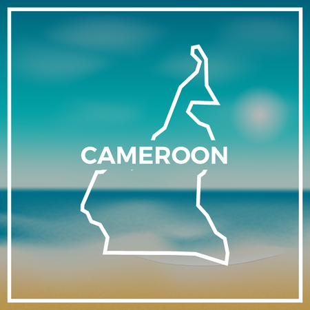 Cameroon map rough outline against the backdrop of beach and tropical sea with bright sun.