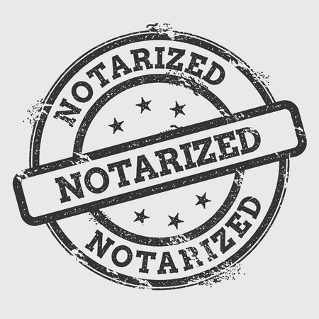 Notarized rubber stamp isolated on white background. Grunge round seal with text, ink texture and splatter and blots, vector illustration.