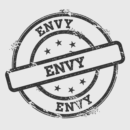 Envy rubber stamp isolated on white background. Grunge round seal with text, ink texture and splatter and blots, vector illustration. Illustration