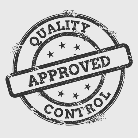 Quality approved control rubber stamp isolated on white background. Grunge round seal with text, ink texture and splatter and blots, vector illustration.