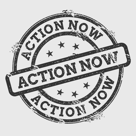 Action now rubber stamp icon Vectores
