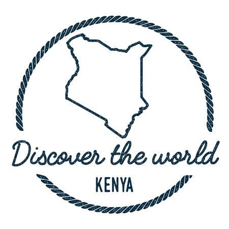 Kenya Map Outline. Vintage Discover the World Rubber Stamp with Kenya Map.  イラスト・ベクター素材
