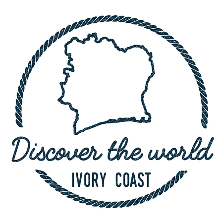 Cote DIvoire Map Outline. Vintage Discover the World Rubber Stamp with Cote DIvoire Map. Hipster Style Nautical Rubber Stamp, with Round Rope Border. Country Map Vector Illustration.