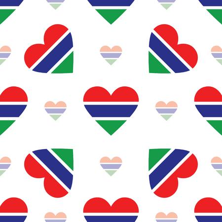 gambie drapeau coeur seamless . drapeau patriotique drapeau comté . fond de drapeau en forme de forme de vecteur patriotique . Vecteurs