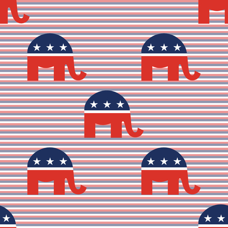 Elephants seamless pattern on red and blue diagonal stripes background.
