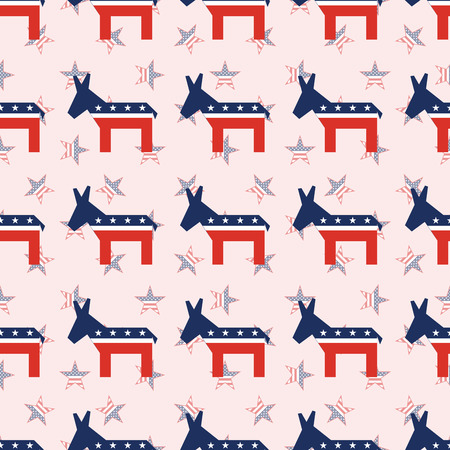 Broken donkeys seamless pattern on national stars background. USA presidential elections patriotic wallpaper. Continuos pattern vector illustration.