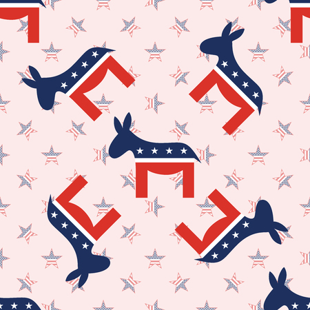 Donkeys seamless pattern on national stars background. USA presidential elections patriotic wallpaper. Scalable pattern vector illustration. Illustration