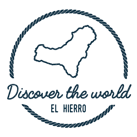 Vintage rubber stamp with El Hierro Map Outline.