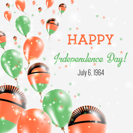 Malawi Independence Day Greeting Card. Flying Balloons in Malawi National Colors. Happy Independence Day Malawi Vector Illustration.