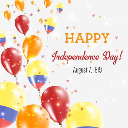 Carte de voeux pour le jour de l'indépendance de la Colombie. Ballons volants aux couleurs nationales de la Colombie. Joyeux jour de l'indépendance Colombie Illustration vectorielle.