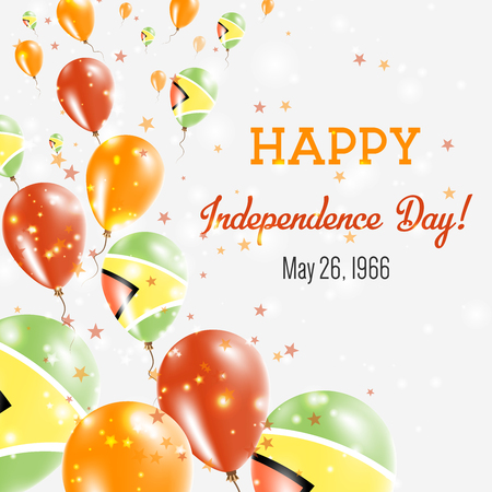 Guyana Independence Day Greeting Card. Flying Balloons in Guyana National Colors. Happy Independence Day Guyana Vector Illustration.