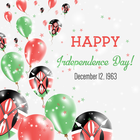 Kenya Independence Day Greeting Card. Flying Balloons in Kenya National Colors. Happy Independence Day Kenya Vector Illustration.
