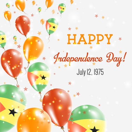 Sao Tome and Principe Independence Day Greeting Card. Flying Balloons in Sao Tome and Principe National Colors. Happy Independence Day Sao Tome and Principe Vector Illustration.