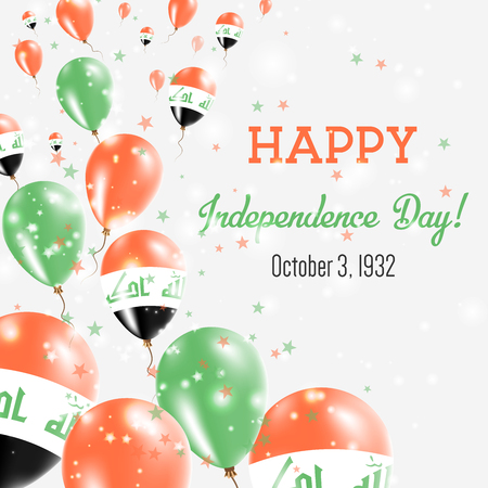 Iraq Independence Day Greeting Card. Flying Balloons in Iraq National Colors. Happy Independence Day Iraq Vector Illustration. Stock Illustratie