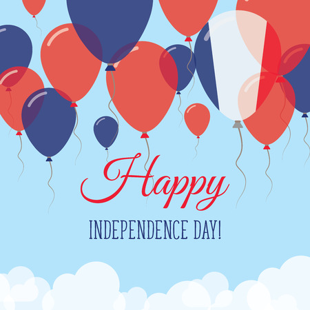 France Independence Day Flat Greeting Card. Flying Rubber Balloons in Colors of the French Flag. Happy National Day Vector Illustration. Çizim