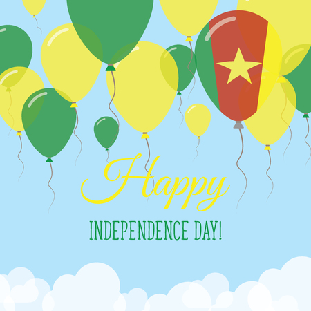 Cameroon Independence day flat greeting card. Flying rubber balloons in colors of the Cameroonian flag. Happy national day vector illustration.