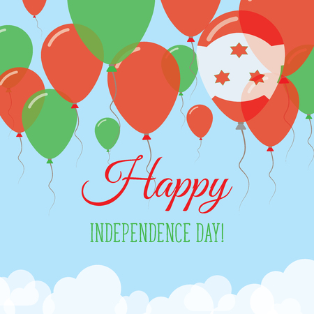 Burundi Independence day flat greeting card. Flying rubber balloons in colors of the Burundian flag. Happy national day vector illustration.
