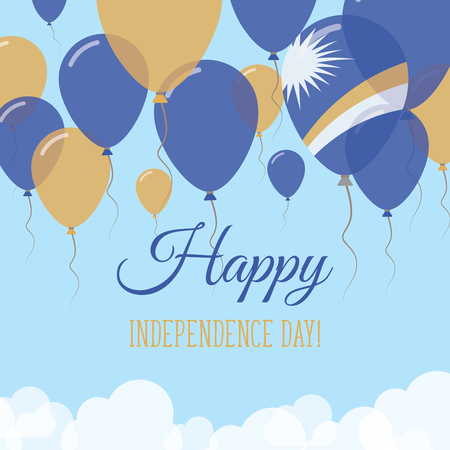 Marshall Islands Independence Day Flat Greeting Card. Flying Rubber Balloons in Colors of the Marshallese Flag. Happy National Day Vector Illustration. Illustration