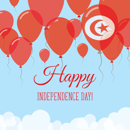Tunisia Independence Day Flat Greeting Card. Flying Rubber Balloons in Colors of the Tunisian Flag. Happy National Day Vector Illustration.