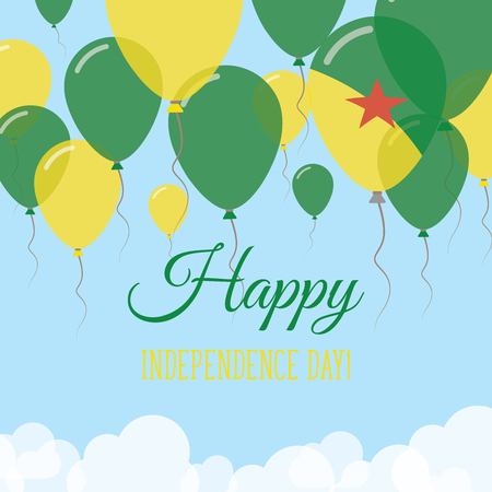 French Guiana Independence Day Flat Greeting Card. Flying Rubber Balloons in Colors of the French Guiana Flag. Happy National Day Vector Illustration.