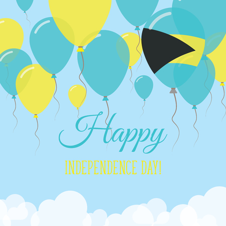 Bahamas Independence Day Flat Greeting Card. Flying Rubber Balloons in Colors of the Bahamian Flag. Happy National Day Vector Illustration. Vettoriali