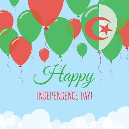 Algeria Independence Day Flat Greeting Card. Flying Rubber Balloons in Colors of the Algerian Flag. Happy National Day Vector Illustration. Illustration