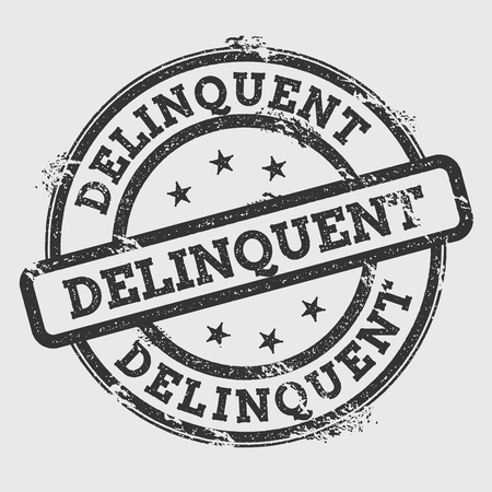 Delinquent rubber stamp isolated on white background. Grunge round seal with text, ink texture and splatter and blots, vector illustration. Illustration