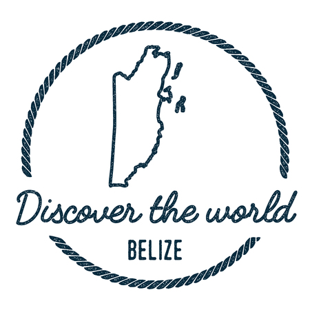 Belize Map Outline. Vintage Discover the World Rubber Stamp with Belize Map. Hipster Style Nautical Rubber Stamp, with Round Rope Border. Country Map Vector Illustration.