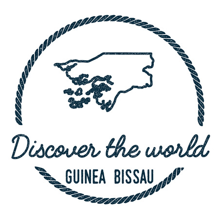Guinea-Bissau Map Outline. Vintage Discover the World Rubber Stamp with Guinea-Bissau Map. Hipster Style Nautical Rubber Stamp, with Round Rope Border. Country Map Vector Illustration. 向量圖像
