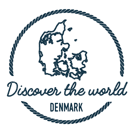 Denmark Map Outline. Vintage Discover the World Rubber Stamp with Denmark Map. Hipster Style Nautical Rubber Stamp, with Round Rope Border. Country Map Vector Illustration.