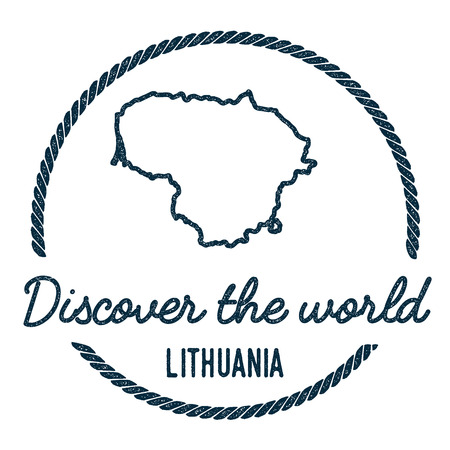 Lithuania Map Outline. Vintage Discover the World Rubber Stamp with Lithuania Map. Hipster Style Nautical Rubber Stamp, with Round Rope Border. Country Map Vector Illustration.