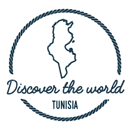 Tunisia Map Outline. Vintage Discover the World Rubber Stamp with Tunisia Map. Hipster Style Nautical Rubber Stamp, with Round Rope Border. Country Map Vector Illustration. Illustration