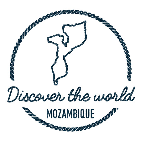Mozambique Map Outline. Vintage Discover the World Rubber Stamp with Mozambique Map. Hipster Style Nautical Rubber Stamp, with Round Rope Border. Country Map Vector Illustration. Illustration