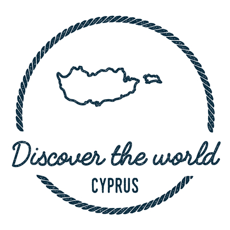 Cyprus Map Outline. Vintage Discover the World Rubber Stamp with Cyprus Map. Hipster Style Nautical Rubber Stamp, with Round Rope Border. Country Map Vector Illustration. 向量圖像