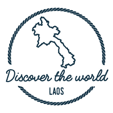 Lao Peoples Democratic Republic Map Outline. Vintage Discover the World Rubber Stamp with Lao Peoples Democratic Republic Map. Hipster Style Nautical Rubber Stamp, with Round Rope Border.