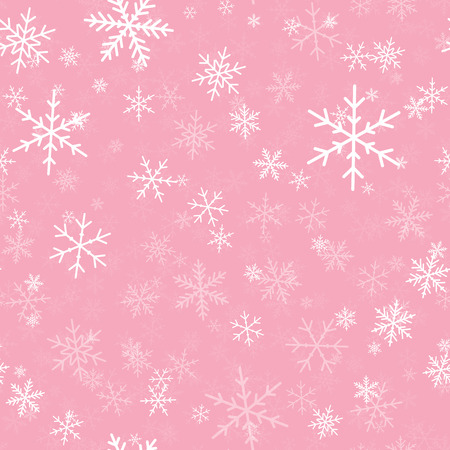 White snowflakes seamless pattern on pink Christmas background. Chaotic scattered white snowflakes. Exquisite Christmas creative pattern vector illustration.  イラスト・ベクター素材