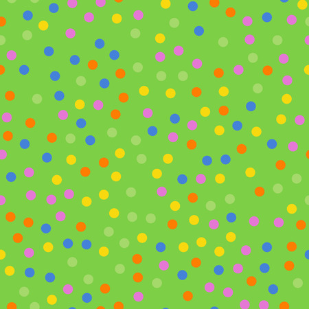 Colorful polka dots seamless pattern on bright 2 background. Alluring classic colorful polka dots textile pattern. Seamless scattered confetti fall chaotic decor. Abstract vector illustration. Illustration