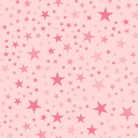 Pink stars seamless pattern on light pink background. Captivating endless random scattered pink stars festive pattern. Modern creative chaotic decor. Vector abstract illustration.