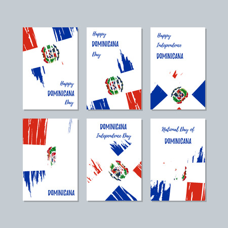 Dominicana Patriotic Cards for National Day. Expressive Brush Stroke in National Flag Colors on white card background. Dominicana Patriotic Vector Greeting Card.