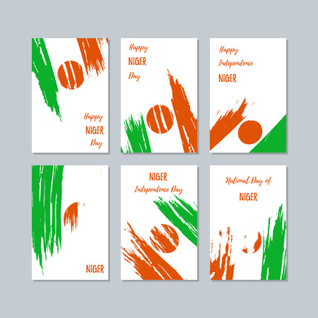 Niger Patriotic Cards for National Day. Expressive Brush Stroke in National Flag Colors on white card background. Niger Patriotic Vector Greeting Card. 向量圖像