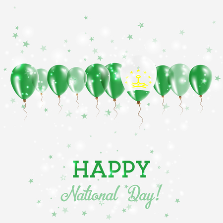 Tajikistan Independence Day Sparkling Patriotic Poster with balloons design