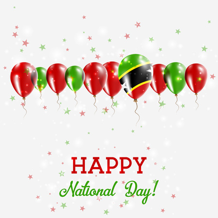 Saint Kitts And Nevis Independence Day Sparkling Patriotic Poster. Happy Independence Day Card with Saint Kitts And Nevis Flags, Confetti, Stars, Bokeh and Glitter.